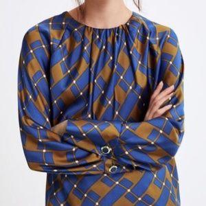 NWT Zara Pleated Round Neck Blouse